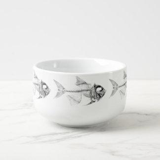 Vintage fish skeleton etching soup mug