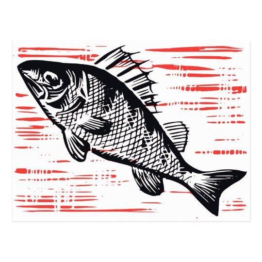 Vintage Fish Woodcut Postcard
