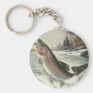 Vintage Fisherman Fishing Rainbow Trout Fish Basic Round Button Keychain