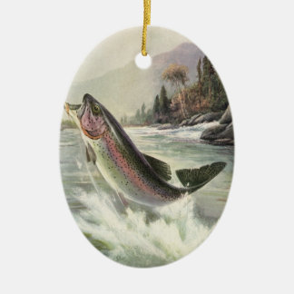 Vintage Fisherman Fishing Rainbow Trout Fish Ceramic Oval Ornament