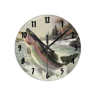Vintage Fisherman Fishing Rainbow Trout Fish Clock