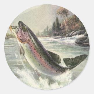 Vintage Fisherman Fishing Rainbow Trout Fish Round Sticker