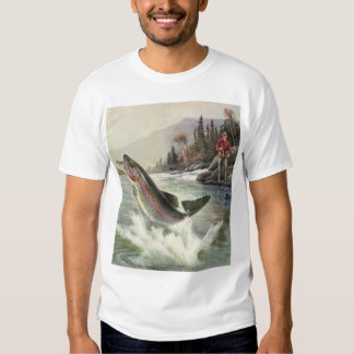 Vintage Fisherman Fishing Rainbow Trout Fish Shirt
