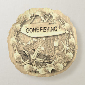 Vintage Fishing Cushion - Gone Fishing