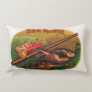 Vintage Fishing Gear Cigar Label Art, Sea Robin Lumbar Pillow