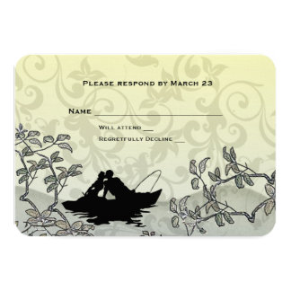 Vintage Fishing Lovers Tree Blue Yellow RSVP Card