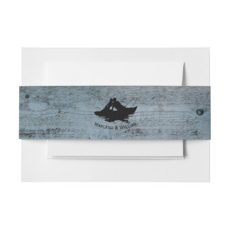 Vintage Fishing Lovers Wood Invitation Belly Band