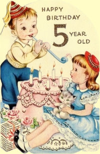 Vintage Five Year Old Birthday Card