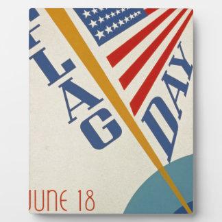 Vintage Flag Day Plaque