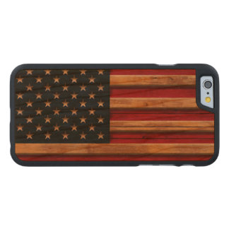 Vintage Flag of America Distressed Carved Cherry iPhone 6 Case