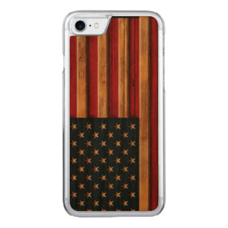 Vintage Flag of America Distressed Carved iPhone 7 Case