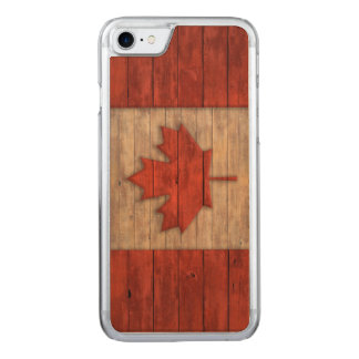 Vintage Flag of Canada Distressed Carved iPhone 7 Case