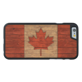 Vintage Flag of Canada Distressed Carved® Maple iPhone 6 Slim Case