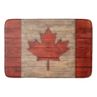 Vintage Flag of Canada Distressed Wood Design Bath Mat