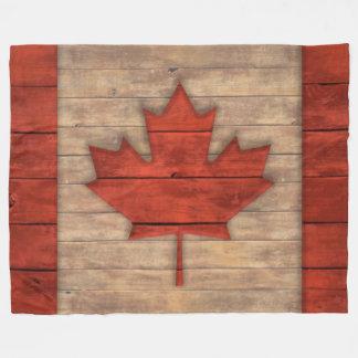 Vintage Flag of Canada Distressed Wood Design Fleece Blanket