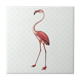 Vintage Flamingo with Mint Quatrefoil Background Ceramic Tiles