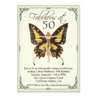 "Vintage Flapper 50th Birthday 5"" X 7"" Invitation Card"