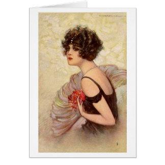 Vintage Flapper with Dark Curls, Card
