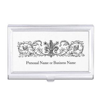 Vintage Fleur De Lis Acorn Leaf Border Custom Name Business Card Holder