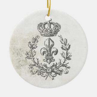 Vintage Fleur de Lis and Crown-ornament Round Ceramic Ornament