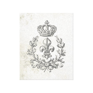 Vintage Fleur de Lis and Crown-stretched canvas
