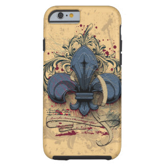 Vintage fleur-de-lis blue metal grunge effects tough iPhone 6 case