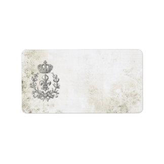 Vintage Fleur de Lis et étiquette de Couronne-adre