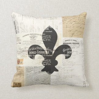 Vintage Fleur de Lis French Ephemera Pillow