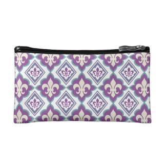 Vintage Fleur de Lis French Heraldic Pattern Cosmetic Bag