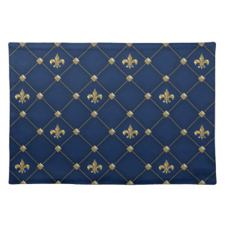 Vintage Fleur de Lis on Dark Navy Blue Pattern Placemat
