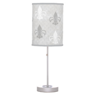 Vintage Fleur de Lis Pattern in Greys Table Lamp