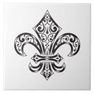 Vintage Fleur de Lis w/ Scrolls in Heraldry Style Tile