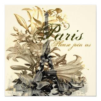 Vintage Flora Paris Eiffel Tower Custom Invite ll