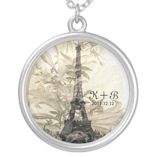 Vintage Flora Paris Eiffel Tower Love Gift Silver Plated Necklace