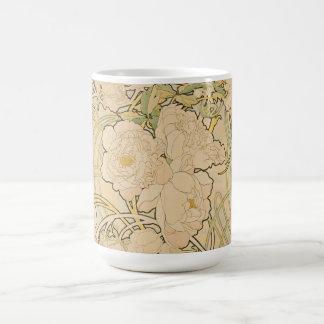 Vintage Floral Alphonse Mucha Peonies GalleryHD Coffee Mug