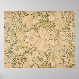 Vintage Floral Alphonse Mucha Peonies GalleryHD Poster