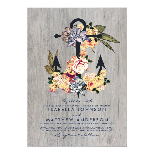 Vintage Floral Anchor | Elegant Wedding Party Card