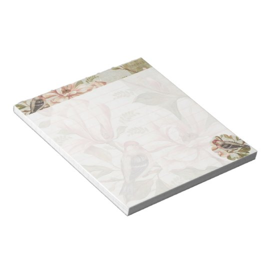 Vintage floral and bird notepad