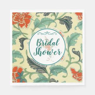 Vintage Floral and Hummingbird Bridal Shower Disposable Napkins