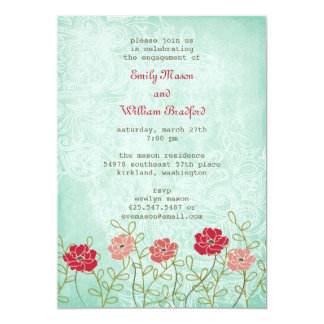 Vintage Floral and Leaves Invitation (5x7)