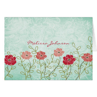 Vintage Floral and Leaves Personalized Notecard