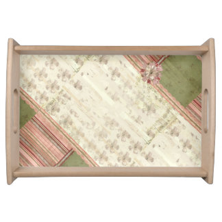 Vintage Floral And Striped Patchwork Pattern Serving Tray