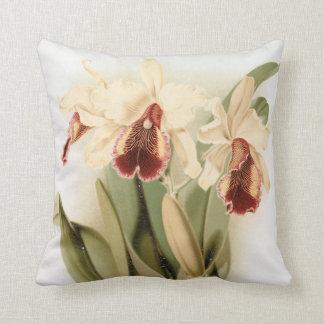 Vintage floral art cattleya orchid throw pillow