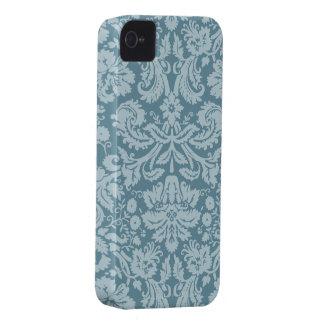 Vintage floral art nouveau blue green pattern iPhone 4 cover