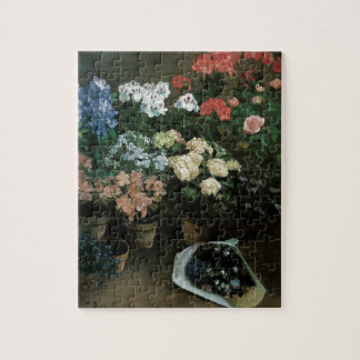 Vintage Floral Art, Study of Flowers by Bazille Jigsaw Puzzle