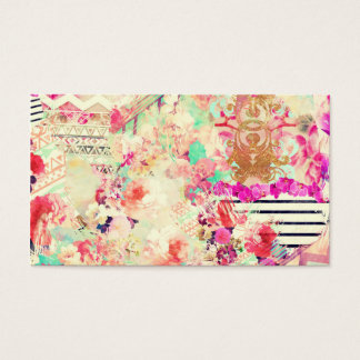 Vintage Floral Aztec Retro Pink Patchwork Business Card