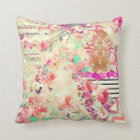 Vintage Floral Aztec Retro Pink Patchwork Throw Pillow