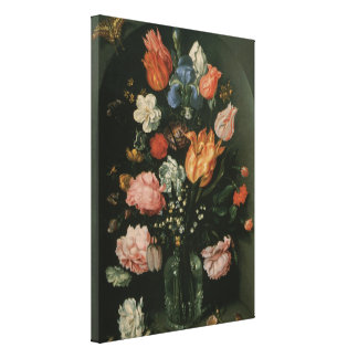 Vintage Floral Baroque, Vase of Flowers in a Niche Stretched Canvas Prints