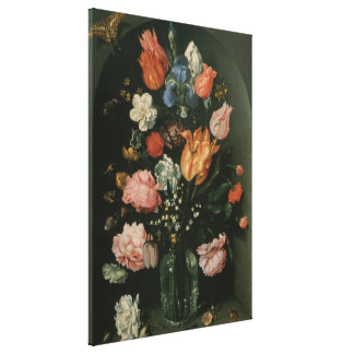 Vintage Floral Baroque, Vase of Flowers in a Niche Canvas Print