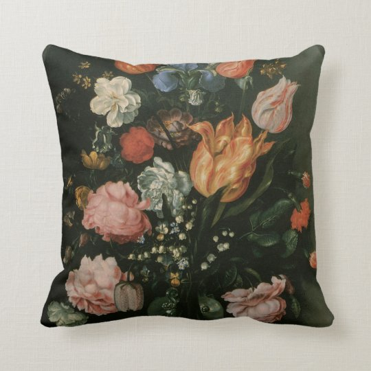 Vintage Floral Baroque, Vase of Flowers in a Niche Throw Pillow